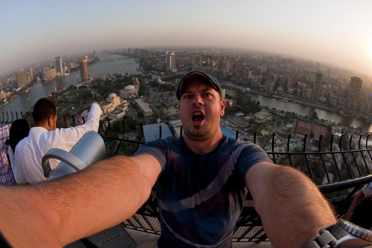 Cairo Tower selfie overlooking Cairo